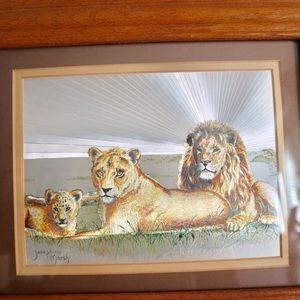 Vintage Josephine Marsh foil print- lions